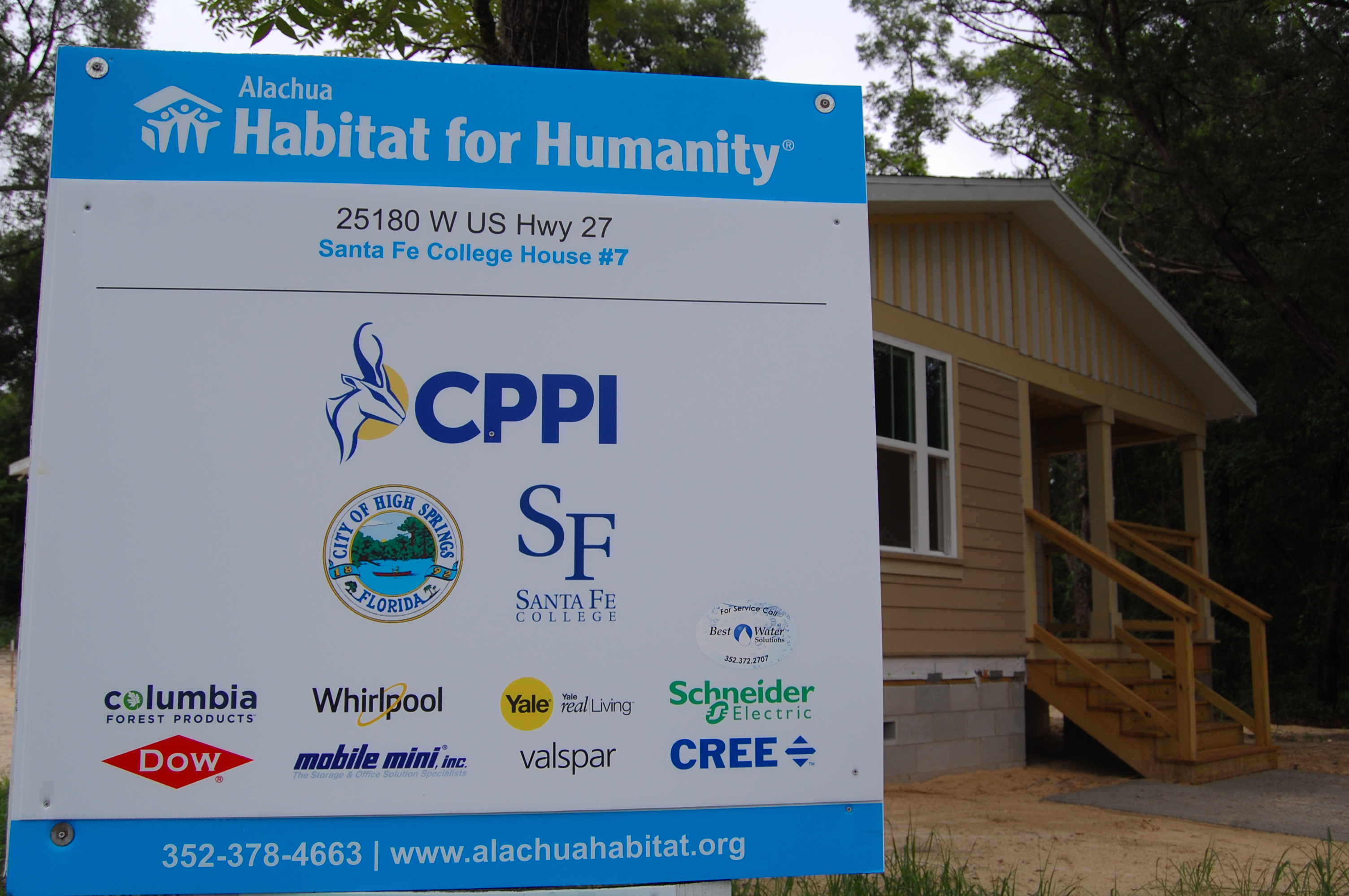 Image of a sign detailing sponsors for Habitat for Humanity.